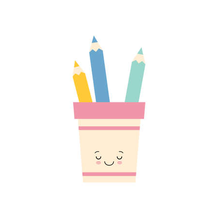 pencil holder Cute character. Back to school. Colorful vector illustration. Cartoon style. Isolated on white background. kawaii style