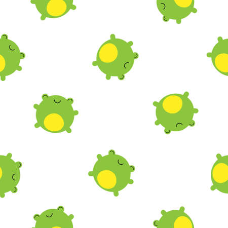 Seamless pattern with cute frogs on white background