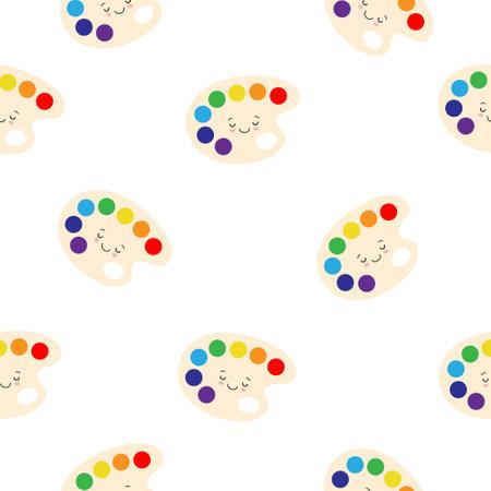 seamless pattern of kawaii art palette creative instrument cartoon cute illusteration Illustration