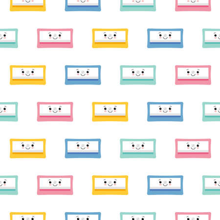 Cute Pencil Sharpener Icon Isolated Seamless Pattern On White Background. Flat style