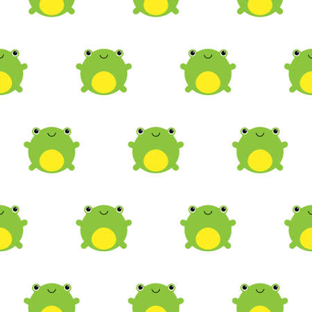 Seamless pattern with cute kawaii frogs on white background
