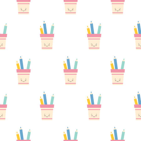 cute kawaii pencil holder character with pencils seamless pattern background. flat illustration
