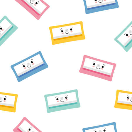 Cute Character Pencil Sharpener Icon Isolated Seamless Pattern On White Background. Flat style