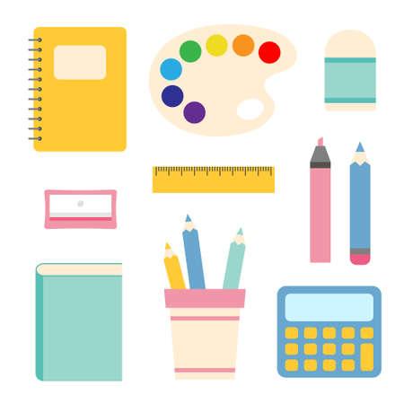 set of different school supplies vector illustration
