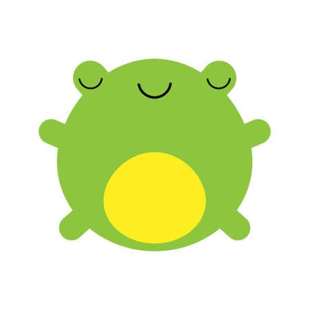 A cartoon vector illustration of a cute little green frog. Illustration