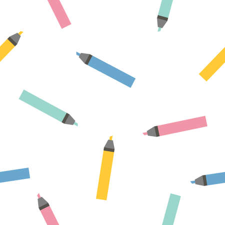 Multi-colored markers highlighters sample pattern. Bright endless background. Good for school and business backgrounds. Vector