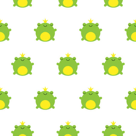 Seamless pattern with cute green prince frogs and crowns vector kawaii illustration
