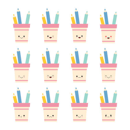 Set of pencil holder Cute character with different emotions. Back to school. Colorful vector illustration. Cartoon style. Isolated on white background.