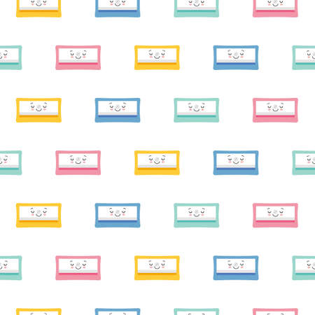 Cute Character Pencil Sharpener Icon Isolated Seamless Pattern On White Background. Cartoon style Illustration