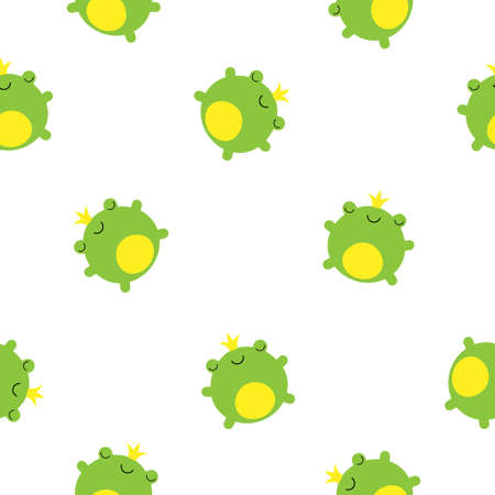 Seamless pattern with cute green prince frogs in crowns vector kawaii illustration Illustration