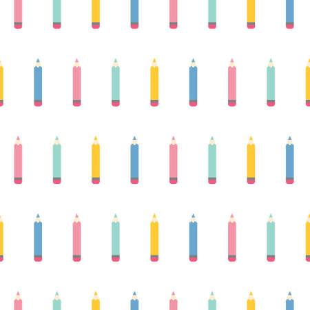 Pattern with cartoon pencils. Seamless vector pattern on white background Illustration