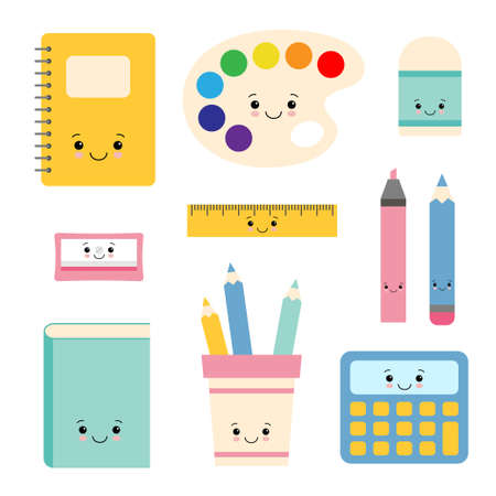Cartoon vector characters of school writing stationery. Illustration