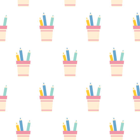 pencil holder with pencils seamless pattern background. Illustration