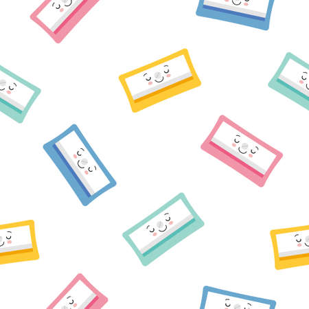 Cute Character Pencil Sharpener Icon Isolated Seamless Pattern On White Background. Cartoon kawaii style