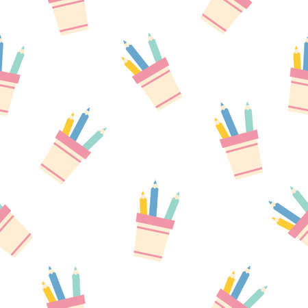 pencil holder with pencils seamless pattern background. flat illustration