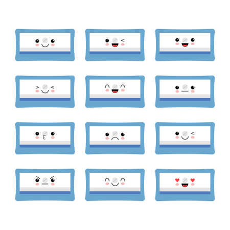 Pencil sharpener flat icon, Funny blue school supply symbol with different emotion. Illustration