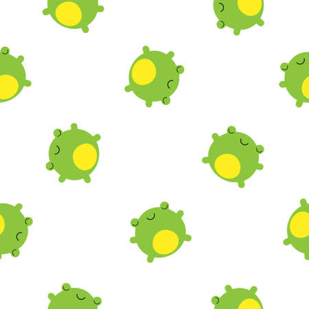 Seamless pattern with cute green frogs. Vector background for kids Illustration