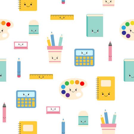 Childish seamless pattern with education supplies. Back to school. Vector kawaii cartoon character