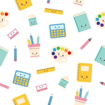 Childish seamless pattern with education supplies. Back to school. Vector kawaii cartoon characters