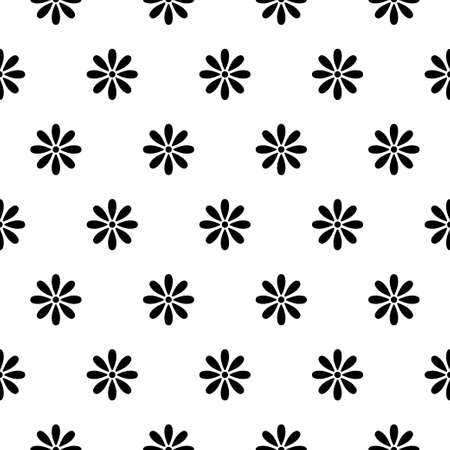 Simple floral pattern. Vector minimalist seamless texture with tiny flower shapes. Abstract minimal geometric monochrome background. Repeat design for prints, textile, decor, fabric, prints, clothing