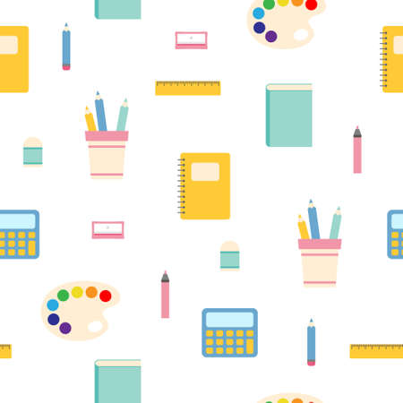 Seamless pattern with set of different school things Illustration