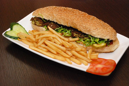 falafel sandwich with french fries