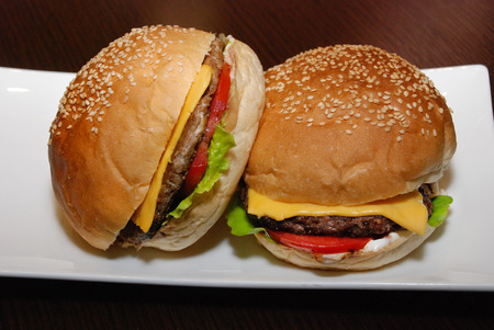 Burgers on the white plate