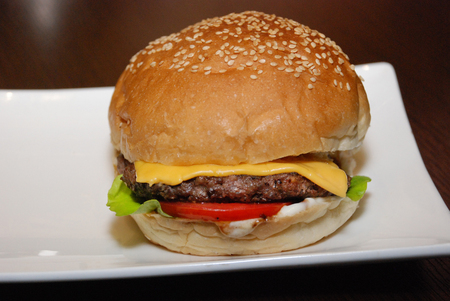 Single chicken beef burger on the white plate