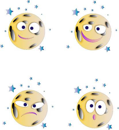 The moon face shaped smiles as the emotion icons