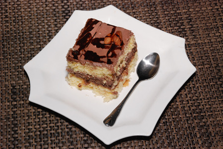 Square plate with chocolate cake