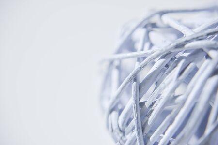 ball of light blue wires on the cold white backgtound Фото со стока