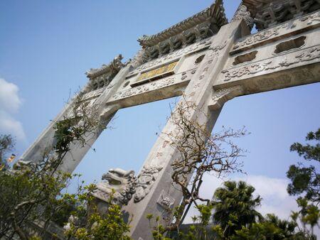 17th of March 2018 big Mountain gates of the Po Lin Monastery at the Lantau Island, Hong Kong.