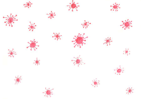 sketch of the red structures looking like molecules or viruses on the white background