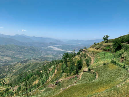 the view from the mountain to the swat valley in Pakistan