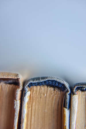 old books, macro view from the bottom, selective focus