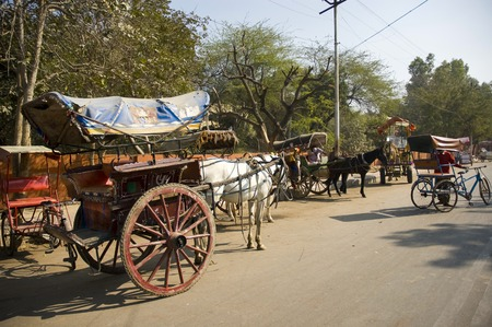 Rickshaws and carts with horses are on the street in India and waiting for passengers. Archivio Fotografico