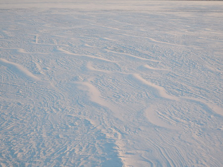 Snow surface created by a wind at sunset.