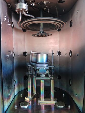 Inside vacuum chamber of magnetron sputtering system 版權商用圖片
