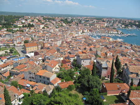 Beautiful view of the roofs and the Bay of Rovinj, Croatia