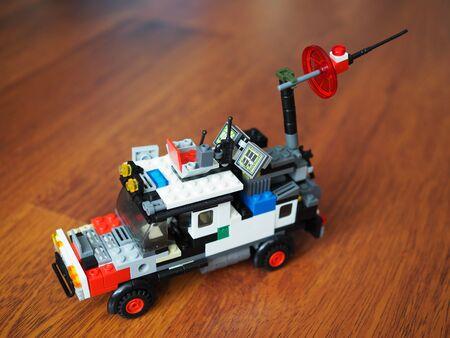 Lego machines made by children of color designer parts. Russia, Saratov - June 2019