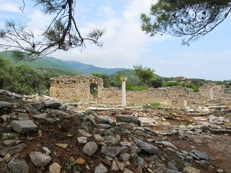 Columns in ancient church in Archaeological site of Aliki, Thassos..