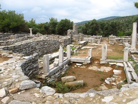 Columns in ancient church in Archaeological site of Aliki, Thassos
