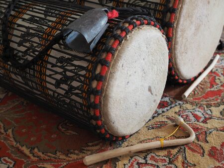 West African bass drums: Kenkeni, Dudunba closeup.