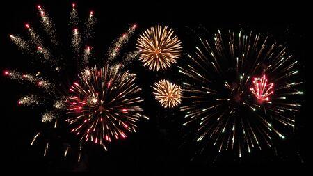 Fuegos artificiales de vacaciones coloridos en el fondo del cielo negro