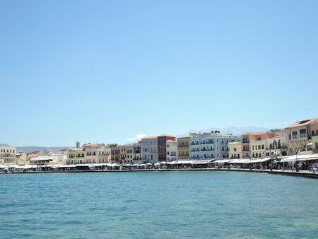 Beautiful cityscape and promenade in city of Chania on island of Crete, Greece. Banco de Imagens