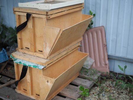 temporary wooden hives for transportation.
