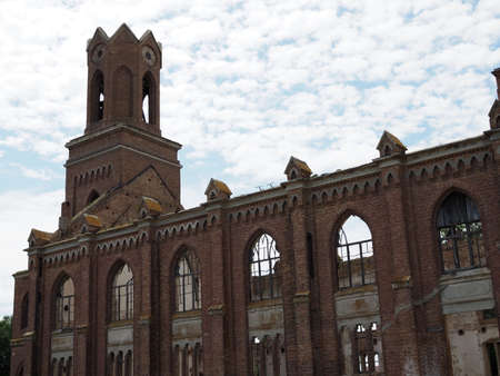 Ruins of the ancient Lutheran church in Saratov, Russia. The building in 1907 was built by the Germans of the Volga region, destroyed by the communist vandals during the revolution.