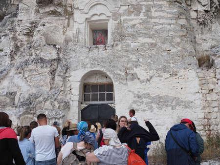 Divnogorye village, Voronezh region, Russia. - Aug 09, 2020: The Icon of the Virgin Mary of Sicilia cave-temple.