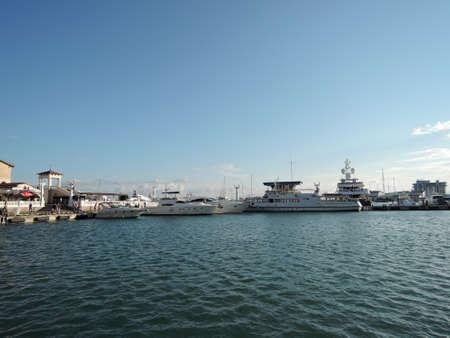 06 07 2016 Sochi. Russia. Sochi Commercial Sea Port at sunset 新聞圖片