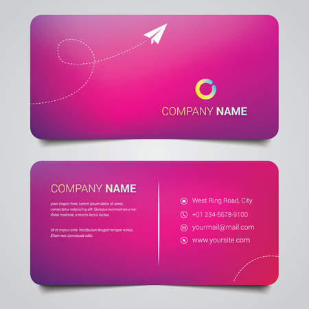 maroon color business card template Vector illustration.